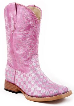 Roper Youth Girls' Glittery Checkerboard Cowgirl Boots, , hi-res