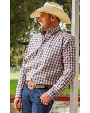 Cinch Men's Blue Plaid Long Sleeve Western Shirt, Multi, hi-res