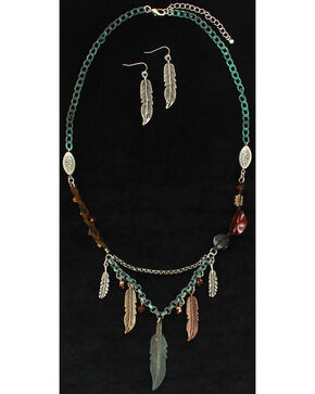 Blazin Roxx Feather Beaded Necklace & Earrings Set, Silver, hi-res