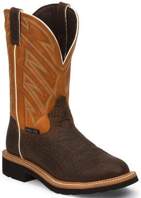 Justin Original Work Boots Men's Waterproof Stampede Pull-On Work Boots - Round Steel Toe, Chestnut, hi-res
