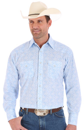 Wrangler George Strait Men's Long Sleeve 2 Pocket Snap Paisley Print Shirt - Big and Tall, Blue, hi-res