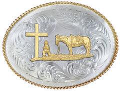 Montana Silversmiths 1350 Series German Silver Christian Cowboy Western Belt Buckle , , hi-res