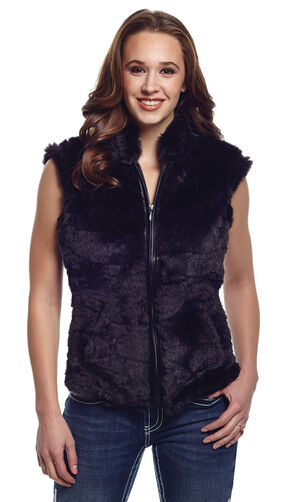 Cripple Creek Women's Faux Fur Black Sweater Vest, Black, hi-res