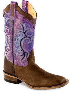 Old West Scalloped Colorful Cowgirl Boots - Square Toe, , hi-res