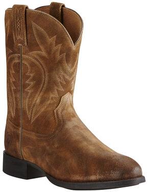 Ariat Men's Tan Western Roper Boots - Round Toe, Tan, hi-res