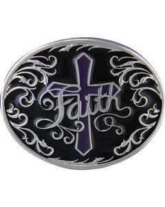 Montana Silversmiths Deep Faith Attitude Cross Buckle, , hi-res
