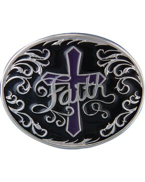 Montana Silversmiths Deep Faith Attitude Cross Buckle, Silver, hi-res