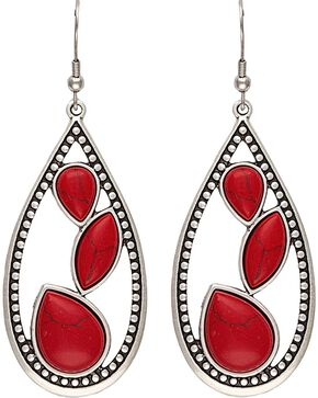 Wrangler Rock 47 Campfire Coals Red Sparks Teardrop Earrings, Silver, hi-res