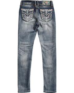 Grace in LA Girls' Indigo (7-16) Nellie Embroidered Pocket Jeans - Skinny  , Indigo, hi-res