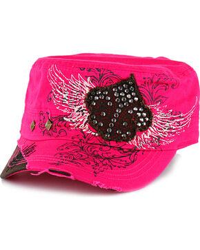 Savana Women's Studs and Rhinestones Military Hat , Hot Pink, hi-res