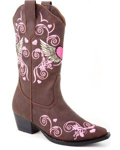 Roper Toddler Girls' Hearts & Wings Embroidered Cowgirl Boots, , hi-res