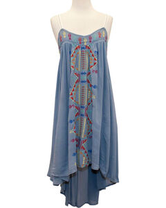 Young Essence Women's Embroidered Boho Dress, Blue, hi-res