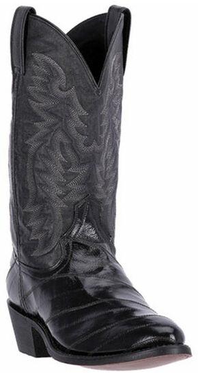 Laredo Marshall Eel Cowboy Boots - Round Toe, Black, hi-res