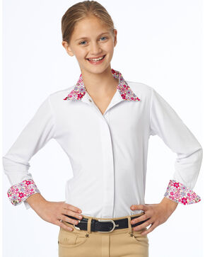 Ovation Girls' Ellie Tech Show Shirt, Pink, hi-res