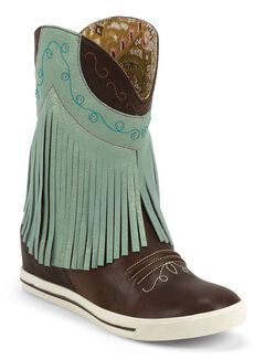 Justin Gypsy Dust Fringe Cowgirl Boots - Round Toe, Chocolate, hi-res