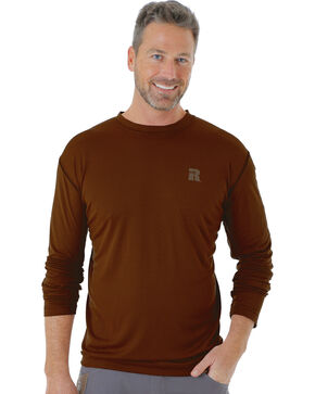 Wrangler Men's Brown Riggs Crew Performance Long Sleeve T-Shirt - Big and Tall, Brown, hi-res
