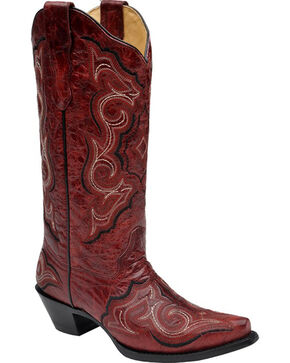 Corral Red Embroidered Cowgirl Boots - Snip Toe, Red, hi-res
