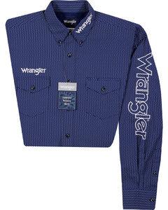 Wrangler Men's Long Sleeve Wrangler Logo Shirt, Blue, hi-res