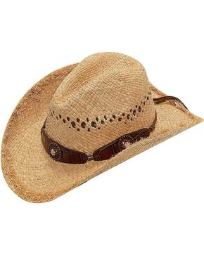 Blazin Roxx Scalloped Bedecked Croc Print Hat Band Raffia Straw Cowgirl Hat, Natural, hi-res