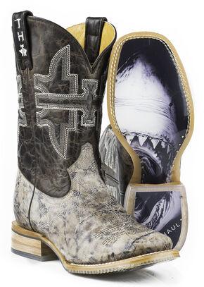 Tin Haul Men's Jawz Shark Bite Cowboy Boots - Square Toe, Brown, hi-res