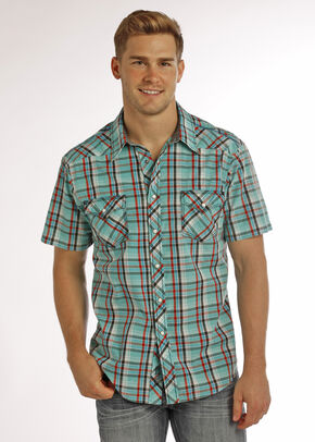 Rock & Roll Cowboy Men's Aqua Crinkle Washed Short Sleeve Plaid Shirt , Aqua, hi-res