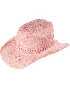 Bullhide Kids' April Straw Cowboy Hat, Pink, hi-res