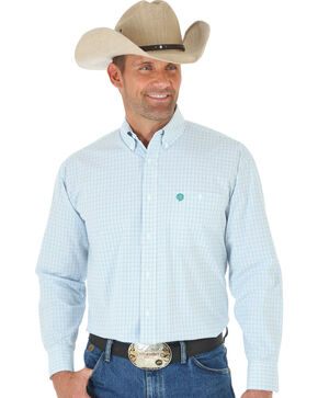 Wrangler George Strait Blue, White & Green Plaid Western Shirt, Multi, hi-res