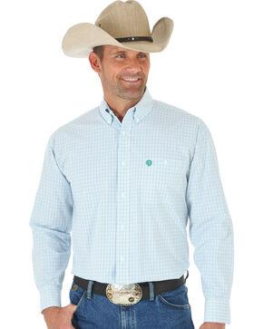 Wrangler George Strait Blue, White & Green Plaid Western Shirt, Multi, hi-res