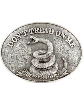 Nocona Men's Silver Don't Tread On Me Belt Buckle , Silver, hi-res