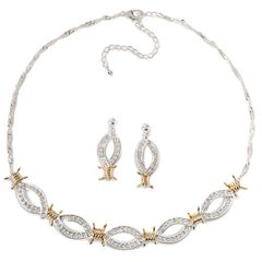 Montana Silversmiths Barbed Wire & Rhinestones Necklace Set, , hi-res