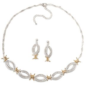 Montana Silversmiths Barbed Wire & Rhinestones Necklace Set, Silver, hi-res