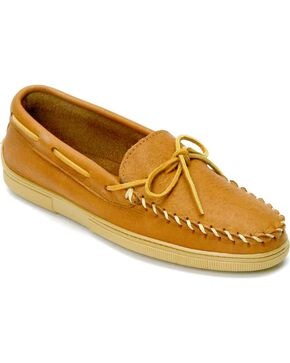 Minnetonka Moosehide Moccasins, Natural, hi-res