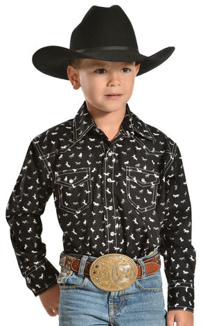 Red Ranch Boys' Horse Print Shirt with White Stitching, Black, hi-res