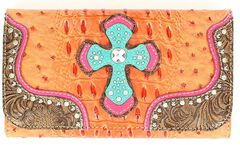 Blazin Roxx Croc Print Cross Overlay Wallet, , hi-res