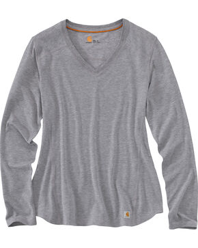 Carhartt Women's Grey Force Performance Long Sleeve V-Neck Tee, Charcoal Grey, hi-res