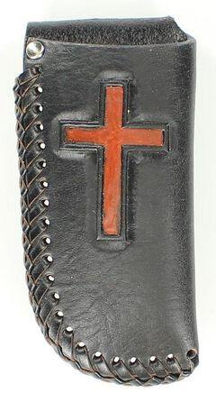Nocona Leather Laced Cross Knife Sheath, , hi-res