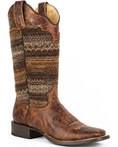Roper Brown Fabric Vintage Stripe Cowgirl Boots - Square Toe , , hi-res