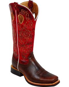 Twisted X Ruff Stock Red Embroidered Cowgirl Boots - Square Toe, , hi-res