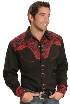 Scully Black and Red Embroidery Retro Western Shirt, , hi-res