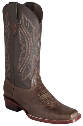 Ferrini Men's Brown Kangaroo Western Boots - Square Toe, Chocolate, hi-res