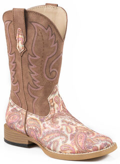 Roper Girls' Pink Paisley Print Cowgirl Boots - Square Toe, , hi-res