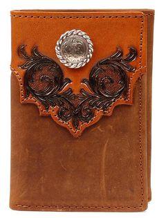 Nocona Fancy Embossed Overlay Tri-fold Wallet, , hi-res
