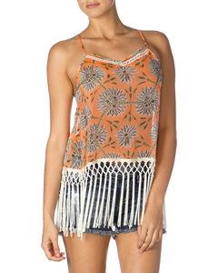 Miss Me Orange Floral Fringe Tank Top, , hi-res