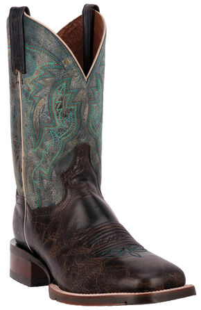 Dan Post Turquoise Lava Teton Cowboy Boots - Square Toe, Chocolate, hi-res