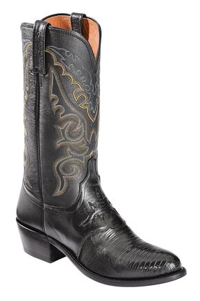 Lucchese Handcrafted 1883 Lizard Inlay Saddle Vamp Cowboy Boots - Medium Toe, Black, hi-res
