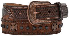Vintage Ostrich Studded Cross & Concho Belt, , hi-res
