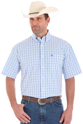 Wrangler George Strait Men's Short Sleeve Plaid One Pocket Button Shirt, Blue, hi-res