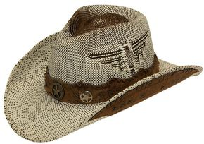 Twister Fashion Raffia Lonestar Band Straw Cowboy Hat, Natural, hi-res
