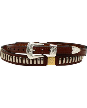 M & F Western Men's Oblong Nailhead Concho Hatband, Brown, hi-res