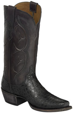 Lucchese Dark Grey Van Giant Gator Cowboy Boots - Square Toe  , , hi-res